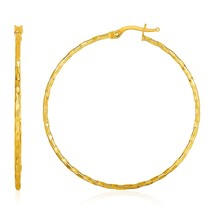 Solid Real 14k Yellow Gold Textured Hoop Earrings Womens Girls Fashion Jewelry - $250.69
