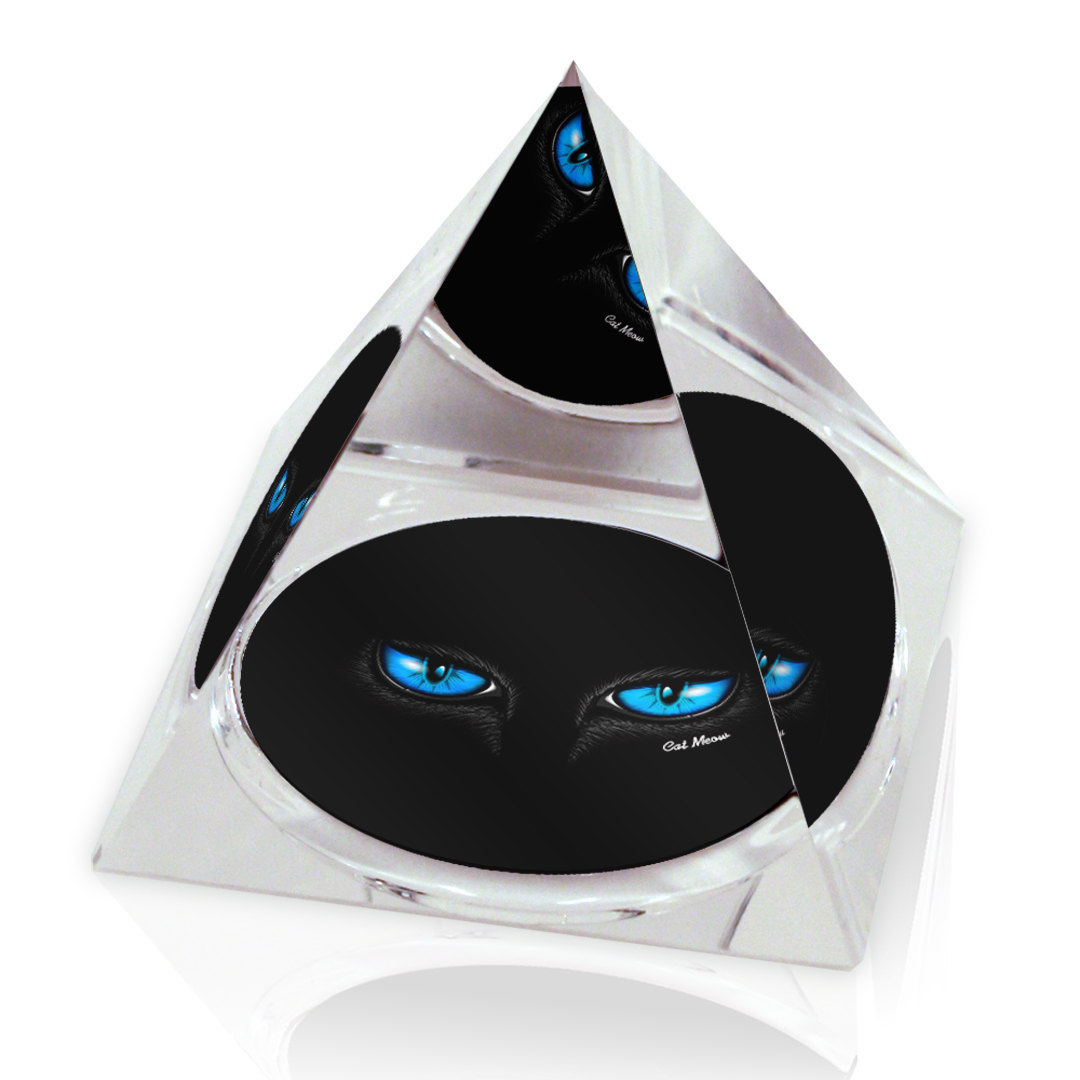 "Black Cat Blue Eyes Illustrated Animal Art 3.25"" Crystal Pyramid Paperweight"