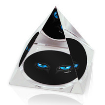 "Black Cat Blue Eyes Illustrated Animal Art 3.25"" Crystal Pyramid Paperwe... - $29.95"