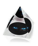 "Black Cat Blue Eyes Illustrated Animal Art 3.25"" Crystal Pyramid Paperwe... - £21.17 GBP"