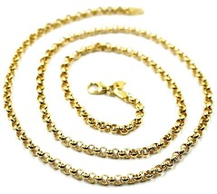 9K YELLOW GOLD CHAIN ROLO CIRCLE LINKS 3.5 MM THICKNESS, 24 INCHES, 60 CM image 2
