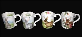 4 Varied Maxcera Floral Bunny Scalloped Mugs Scroll Handle Flowers Inside NEW - $46.99
