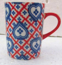 Taste Setter Collection Blue Hearts Red Stripes Porcelain Slender Small ... - $10.99