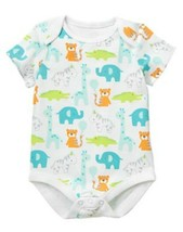 GYMBOREE NWT Newborn Essentials Baby Boys Zoo Pals Print White Bodysuit ... - $9.89