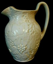 White Pitcher Grapes & Leaves Kingwood Ceramics, Glazed, Made in America... - $17.80