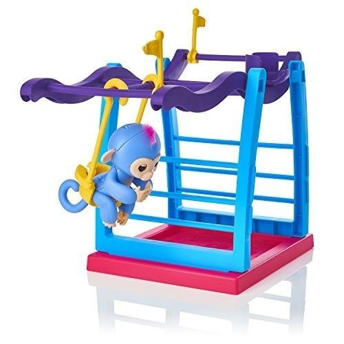 WowWee Fingerlings Playset - Monkey Bar Playground + Liv the Baby Monkey (Blue w