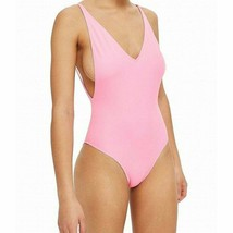 Topshop Womens V-Neck One-Piece Punge Swimwear Swimsuit Size 8 Pink Solid - $24.74