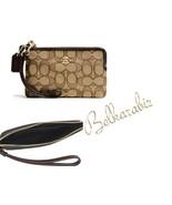 COACH Women's Corner Zip Wristlet Jacquard Leather Wallet Khaki Brown - $37.39