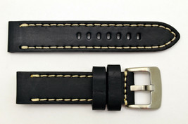 22mm black genuine leather watch band heavy duty strap fit Luminox white... - $37.85