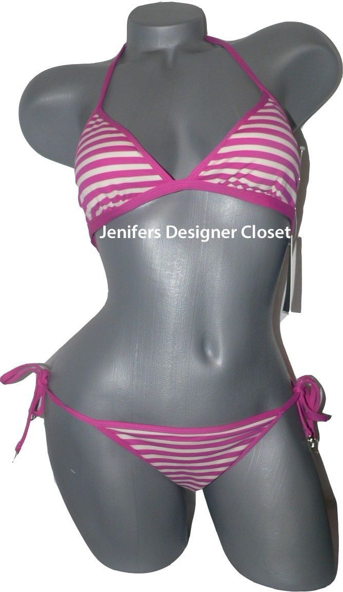 57516e2a6b S l1600. S l1600. Previous. NWT JUICY COUTURE S swimsuit bikini pink  striped ana capri halter side ties