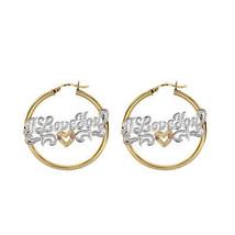 14K Yellow Gold 'I Love You' Nameplate Hoop Earrings - $642.51