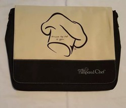 Pampered Chef Large Consultant Laptop Messenger Bag Black & Cream - $14.84