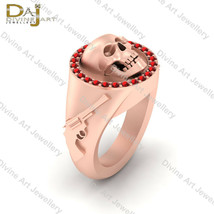Symbol Of Death Skull Gothic Engagement Ring Women's Pirates Gun and Sku... - $279.99