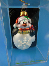 Handcrafted Glass Penquin Ornament for Christmas Mint In Box New - $7.91