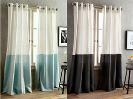 DKNY Color Band 84-Inch Grommet Top Window Curtain Panel in Seafoam & Black - $22.50