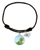 Custom Baby Alligator Gator Black Unisex Bracelet Jewelry Choose Initial Charm - $13.94