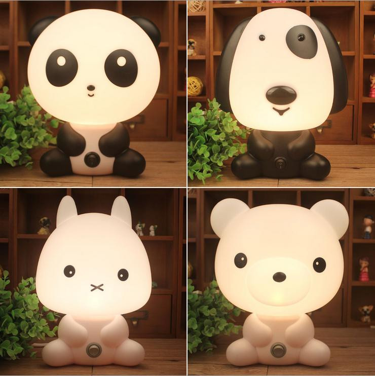 Night Sleeping Lamp Baby Room Panda/Rabbit/Dog/Bear Cartoon Light Kids Bed Lamp for sale  USA