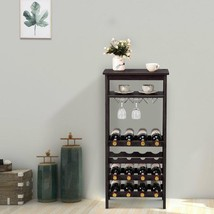 16 Bottles Bamboo Storage Wine Rack with Glass Hanger-Brown - £68.77 GBP