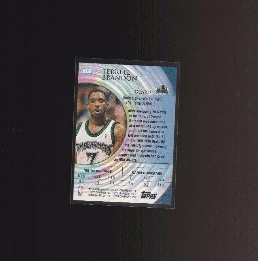 2000-01 Topps Hidden Gems #HG8 Terrell Brandon Minnesota Timberwolves image 2
