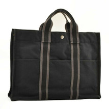 HERMES Fourre Tout MM Tote Bag Black Cotton Auth cr074 - $150.00