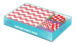 *16437B  Red White Zig Zag Cupcake Party Pack 40 Napkins 24 Toppers 25 L... - $13.95