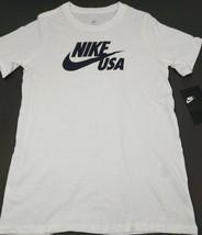Nike Tee Boys Youth T-Shirt USA Swoosh Size Medium White Athletic Cut New NWD - $12.55