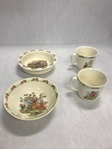 Vintage set 4 mark 1936 royal doulton Bunnykins 2 mug 2 bowls cereal chi... - $59.39