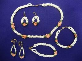 Signed Avon Jewelry Set Necklace 2 Bracelets Pierced & Clip On Earrings Pink Wht - $59.99