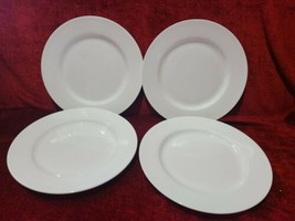 Tabletops Unlimited Cascade Set of 4 Salad Plates Solid White Bone China  - $23.75