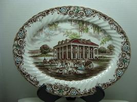 "Johnson Bros. Heritage Hall white & brown 13"" oval porcelain serving platter. - $45.00"