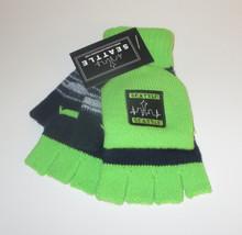 Seattle Skyline Fingerless Gloves Mittens Blue Green Stripes New Stretch... - $279,59 MXN