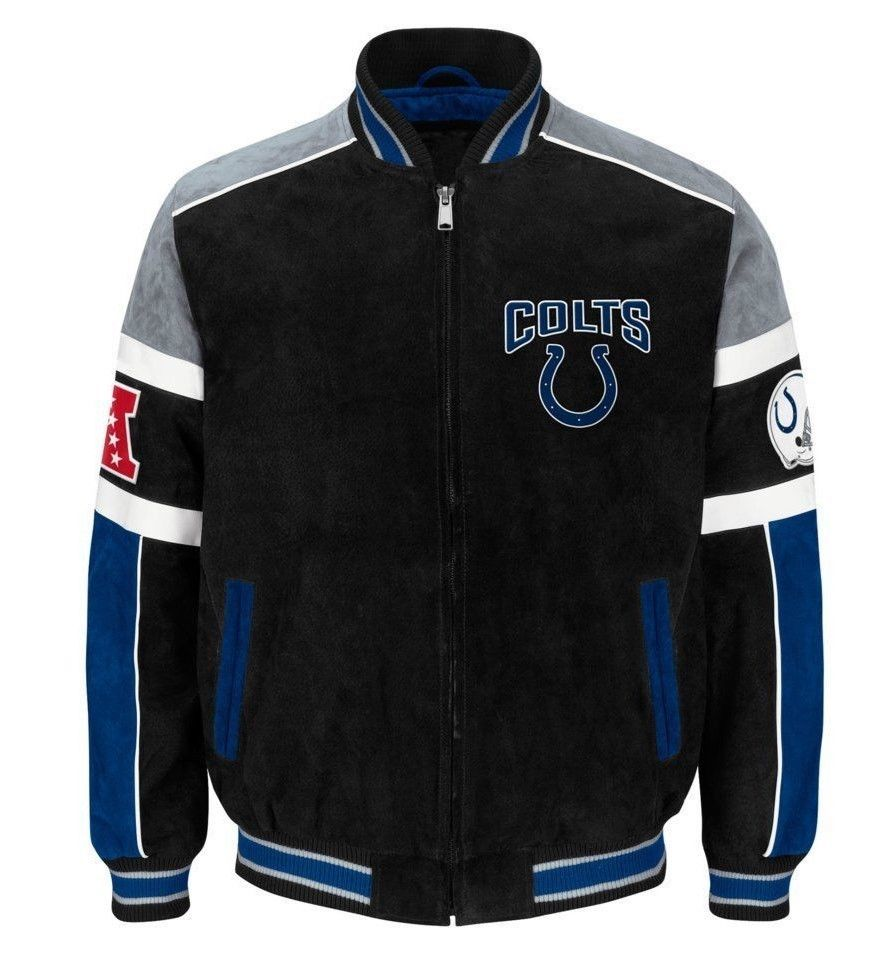 Primary image for Officially Licensed NFL Indianapolis Colts Varsity Suede Leather Jacket LARGE