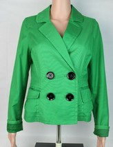 Express Design Studio Mujer Chaqueta Americana Botón Frontal Verde Bolsi... - $22.87