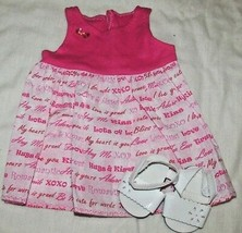 """18"""" doll clothes hand made outfit pink Valentine's Day hugs love dress s... - $12.86"""