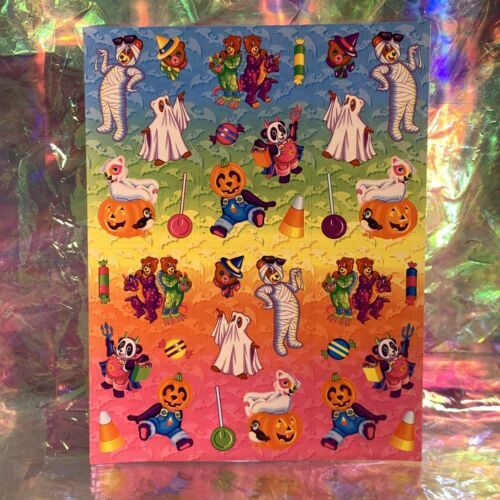 VINTAGE LISA FRANK Halloween Hip Hop Panda Bear Mint Complete Sticker Sheet S317