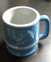 Detroit Lions Shot Glass Ceramic Miniature Mug Style Honolulu Blue Silver NFL - $7.99