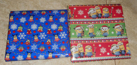 USA NEW Minions Despicable Me Christmas Wrapping Paper Red Blue 20 SQ FT... - $5.50