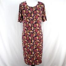 Lularoe Julia Dress Sz XL Purple Pink Yellow Floral Short Sleeve LLR Sheath - $21.99