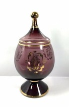 Vintage Purple Glass Gold Lidded Apothecary Candy Jar Victorian Amethyst - $42.75
