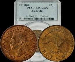 1949-P Australia Half Penny PCGS MS62BN Multi Toned Gem - $48.91