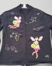 Womens Winter Sweater Talbots Angel Black Pink Zip Front Cardigan Size Small - $24.70