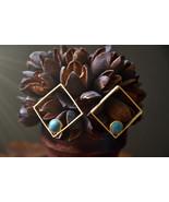 Square Gold Earrings, Black Onyx Gold Earrings,Turquoise Gold Earrings,M... - $60.40