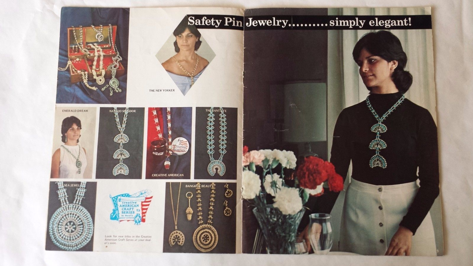 Safety Pin Jewelry Craft Book Hazel Pearson 1972 Patterns and Instructions