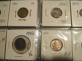 Lincoln Cent , 1949-1959 , Lot of 80 Circulated Coins - $45.00