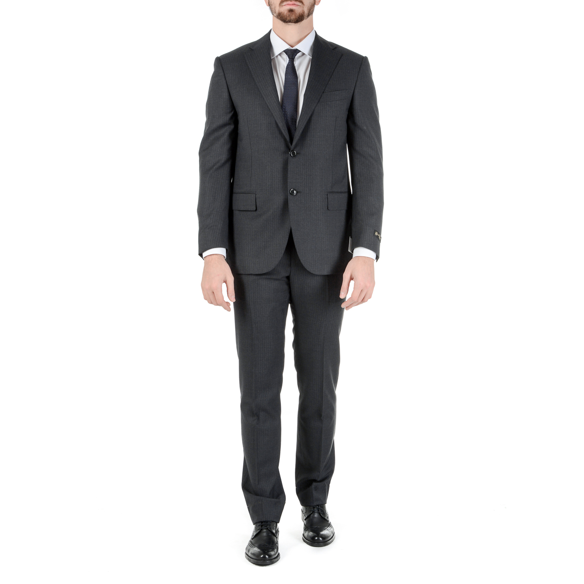 Primary image for Corneliani Mens Suit Long Sleeves Dark Grey Super 130's