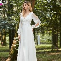 Elegant V Neck Long Sleeve Appliques Lace Chiffon Bridal Gown image 2