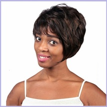 Black Brown Short Straight Hair with Long Bangs Pixie Style Cut Full Lace Wig - $67.95