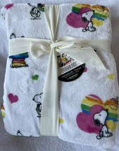 Berkshire Snoopy Plush Throw Twin 50x70 White Rainbow Pride Blanket LGTBQ New - $26.99