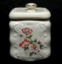 Vintage Stoneware Pottery Biscuit Jar Lidded Canister White with Wild Ro... - $40.00