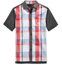 New Mens S EAN John Short Sleeve Plaid Button Front Cream Shirt S - $29.99